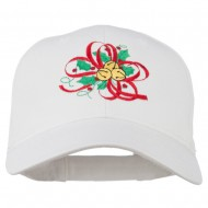 Christmas Holly with Bells Embroidered Cap - White