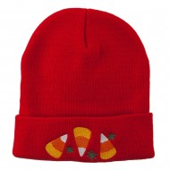Halloween Candies Embroidered Long Beanie - Red
