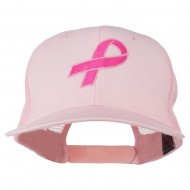 Hot Pink Ribbon Breast Cancer Embroidered Mesh Back Cap - Pink