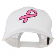 Hot Pink Ribbon Breast Cancer Embroidered Mesh Back Cap - White
