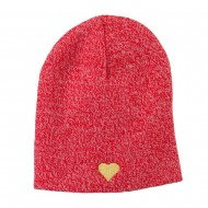 Heart Embroidered Short Beanie - Red
