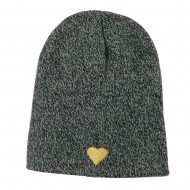 Heart Embroidered Short Beanie - Zebra