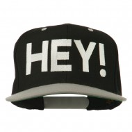 Hey Embroidered Snapback Cap - Black Silver