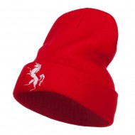 Horse Emblem Embroidered Long Beanie - Red