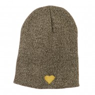 Heart Embroidered Short Beanie - Olive