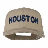 Houston Embroidered Cotton Twill Snapback Cap - Khaki