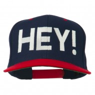 Hey Embroidered Snapback Cap - Navy Red