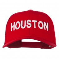 Houston Embroidered Cotton Twill Snapback Cap - Red