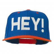 Hey Embroidered Snapback Cap - Royal Orange