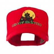 Halloween Ghost Hunting with House Embroidered Cap - Red
