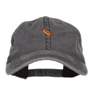 Mini Hot Dog Embroidered Washed Cap - Black