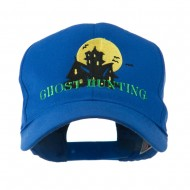 Halloween Ghost Hunting with House Embroidered Cap - Royal
