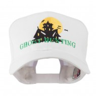 Halloween Ghost Hunting with House Embroidered Cap - White