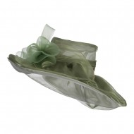 Horsehair Bow Layered Brim Organza Hat - Olive