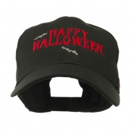 Happy Halloween with Bats Embroidered Cap - Black