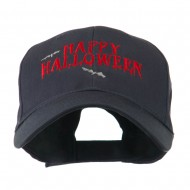 Happy Halloween with Bats Embroidered Cap - Navy
