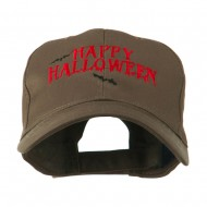 Happy Halloween with Bats Embroidered Cap - Brown