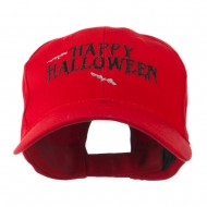 Happy Halloween with Bats Embroidered Cap - Red
