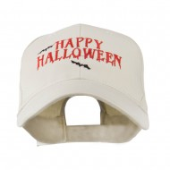 Happy Halloween with Bats Embroidered Cap - Stone