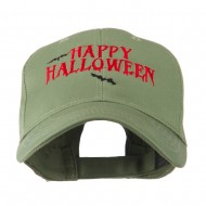 Happy Halloween with Bats Embroidered Cap - Olive