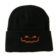 Halloween Jack o Lantern Face Embroidered Long Beanie - Black