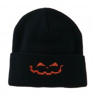 Halloween Jack o Lantern Face Embroidered Long Beanie - Navy