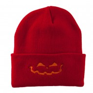 Halloween Jack o Lantern Face Embroidered Long Beanie - Red