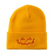 Halloween Jack o Lantern Face Embroidered Long Beanie - Yellow