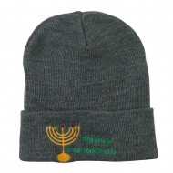 Happy Hanukkah Candles Embroidered Beanie - Grey