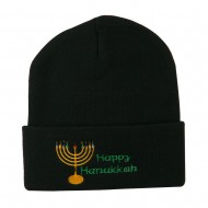Happy Hanukkah Candles Embroidered Beanie - Black