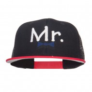 Mr Embroidered Mesh Snapback Cap - Red Black