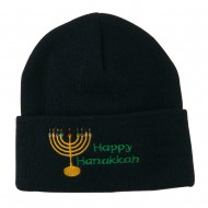 Happy Hanukkah Candles Embroidered Beanie - Navy