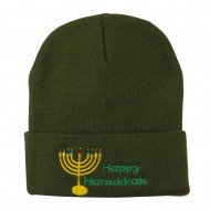 Happy Hanukkah Candles Embroidered Beanie - Olive