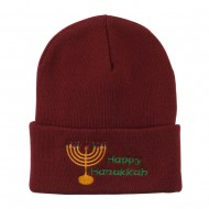 Happy Hanukkah Candles Embroidered Beanie - Maroon