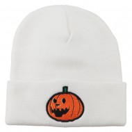 Halloween Laughing Jack o Lantern Embroidered Long Beanie - White