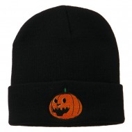 Halloween Laughing Jack o Lantern Embroidered Long Beanie - Navy