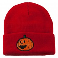 Halloween Laughing Jack o Lantern Embroidered Long Beanie - Red