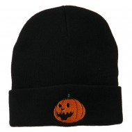 Halloween Laughing Jack o Lantern Embroidered Long Beanie - Black