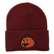 Halloween Laughing Jack o Lantern Embroidered Long Beanie - Maroon