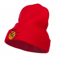 Bats Moon Halloween Embroidered Long Beanie - Red