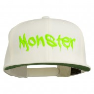 Halloween Monster Embroidered Snapback Cap - Natural