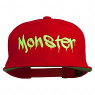 Halloween Monster Embroidered Snapback Cap - Red