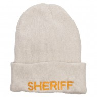 Sheriff Embroidered Oversize Cotton Long Beanie - Milk