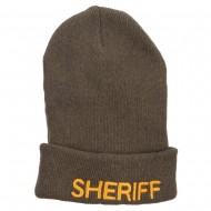 Sheriff Embroidered Oversize Cotton Long Beanie - Olive