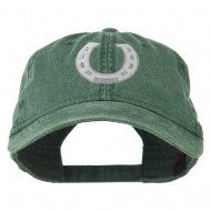 Western Horseshoe Embroidered Washed Cap - Dark Green