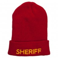 Sheriff Embroidered Oversize Cotton Long Beanie - Red