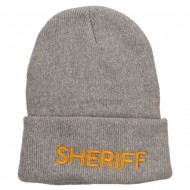Sheriff Embroidered Oversize Cotton Long Beanie - Grey