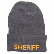 Sheriff Embroidered Oversize Cotton Long Beanie - Charcoal
