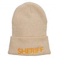 Sheriff Embroidered Oversize Cotton Long Beanie - Beige