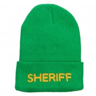 Sheriff Embroidered Oversize Cotton Long Beanie - Kelly